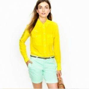 J Crew Blythe Yellow 100% Silk Button Down Blouse